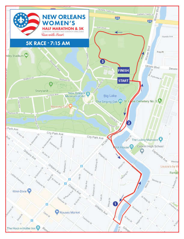 New Orleans Women's 5K Course Map