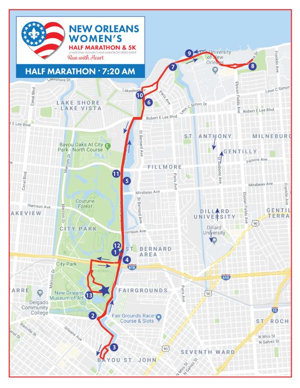 New Orleans Women's Half Marathon Course Map